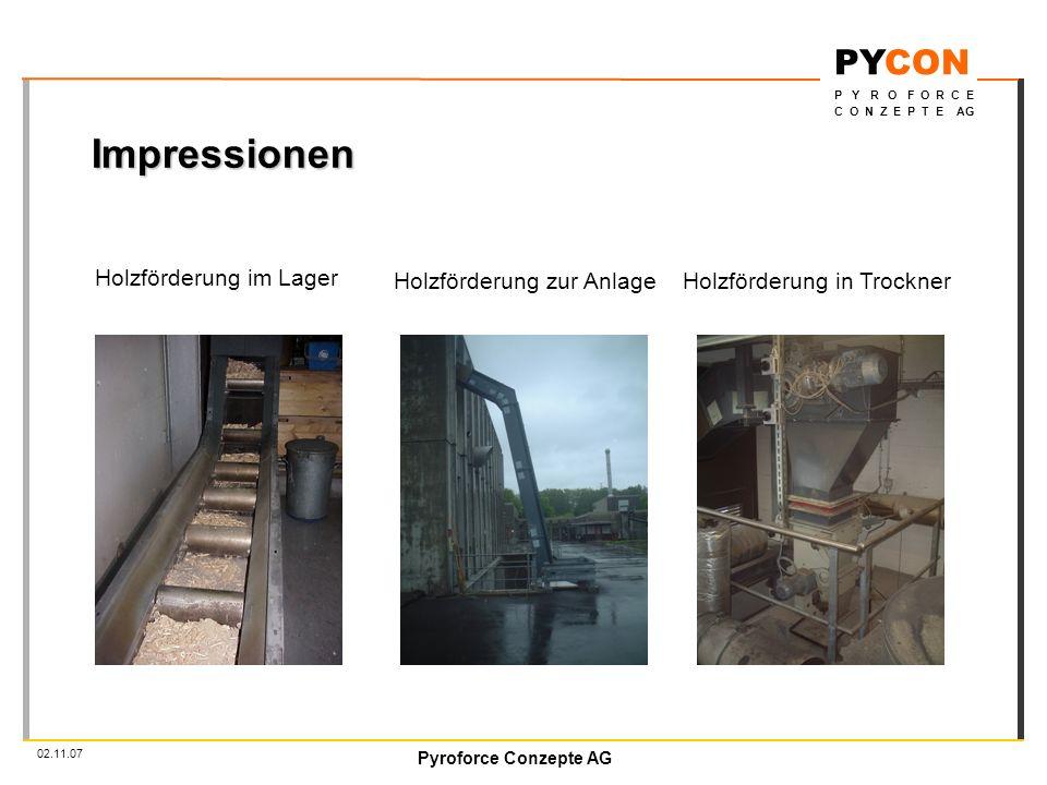 Impressionen Holzförderung im Lager Holzförderung zur Anlage