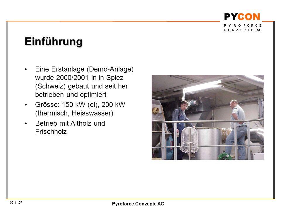 Einführung Eine Erstanlage (Demo-Anlage) wurde 2000/2001 in in Spiez (Schweiz) gebaut und seit her betrieben und optimiert.