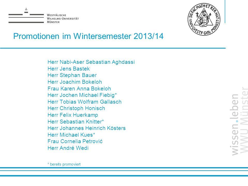 Promotionen im Wintersemester 2013/14