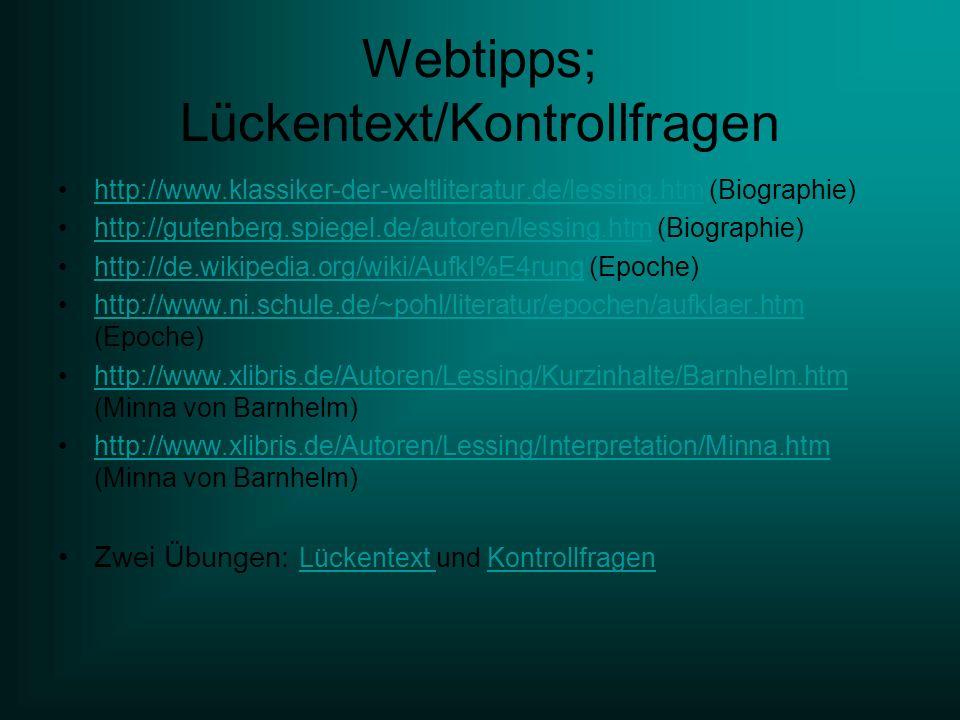 Webtipps; Lückentext/Kontrollfragen