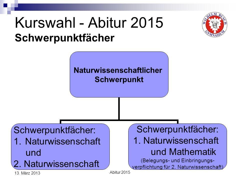 Kurswahl - Abitur 2015 Schwerpunktfächer