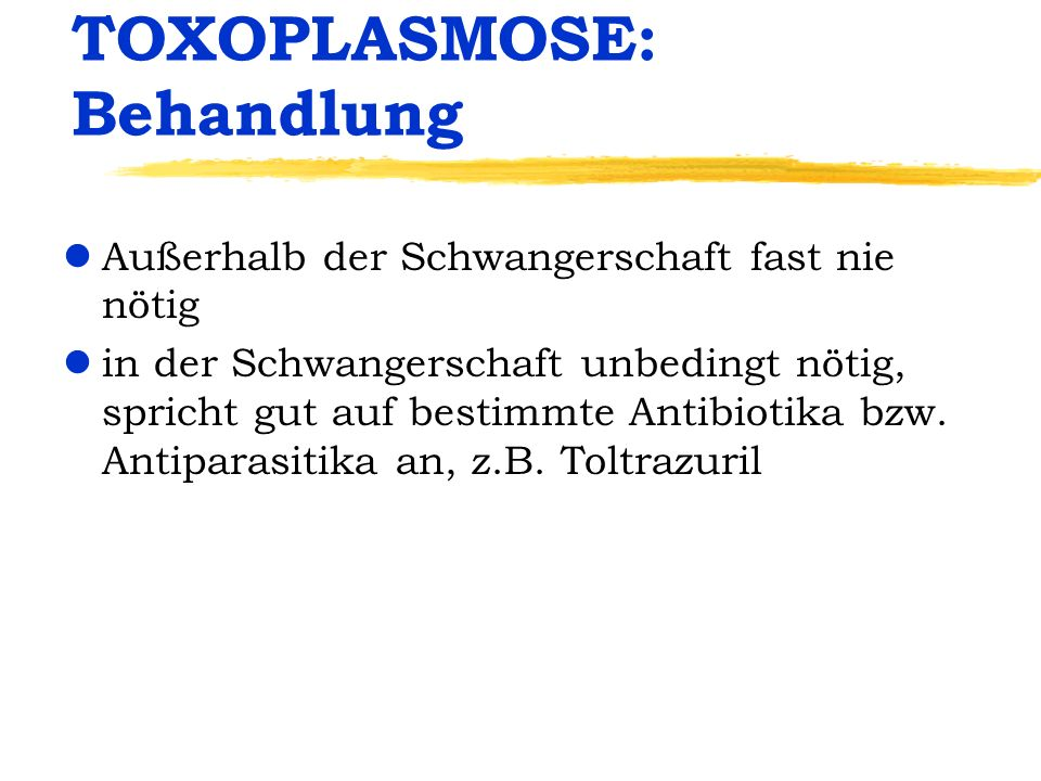 TOXOPLASMOSE: Behandlung