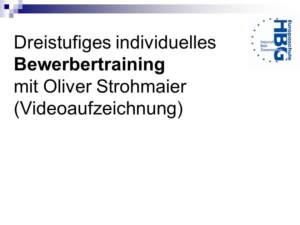Dreistufiges individuelles Bewerbertraining mit Oliver Strohmaier (Videoaufzeichnung)