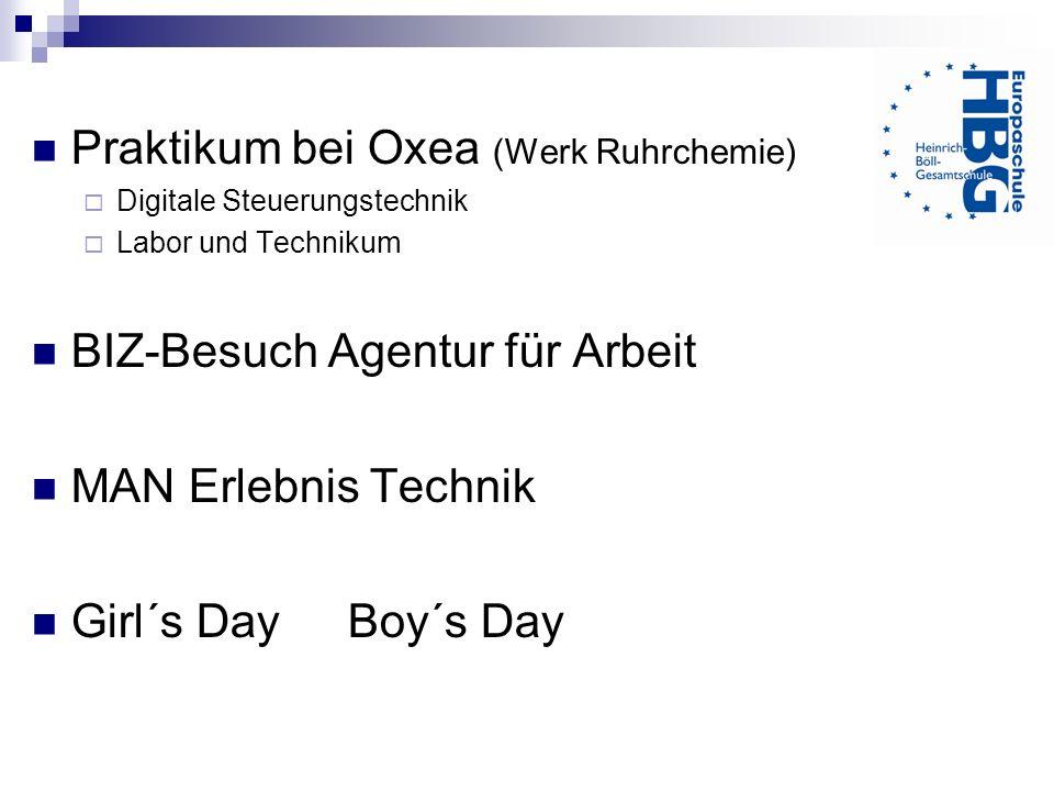 Praktikum bei Oxea (Werk Ruhrchemie)