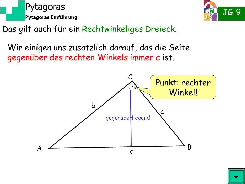 Das gilt auch für ein Rechtwinkeliges Dreieck.