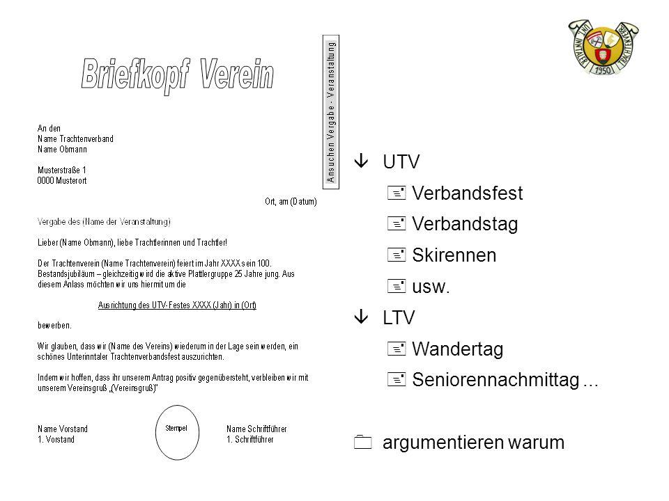 UTV Verbandsfest. Verbandstag. Skirennen. usw.