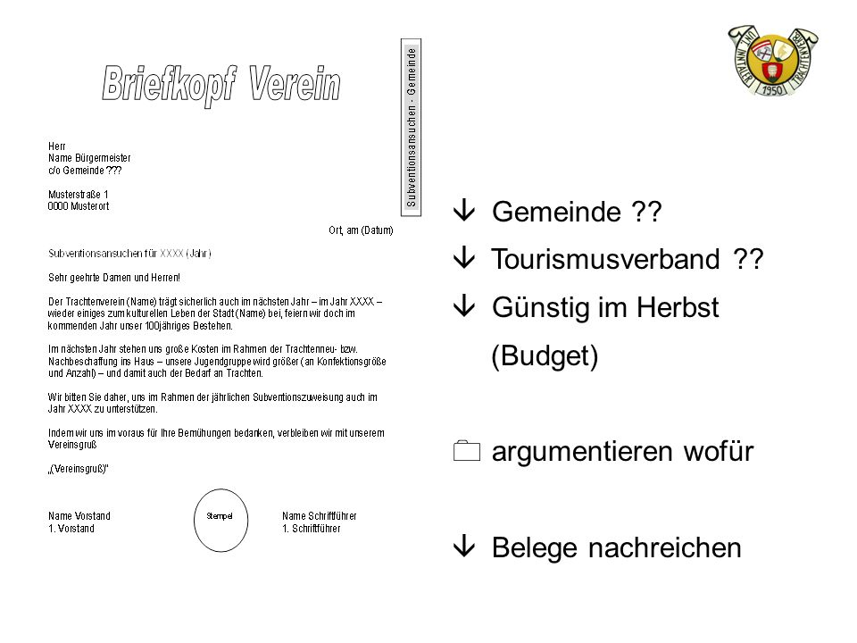 Gemeinde Tourismusverband Günstig im Herbst (Budget) argumentieren wofür Belege nachreichen