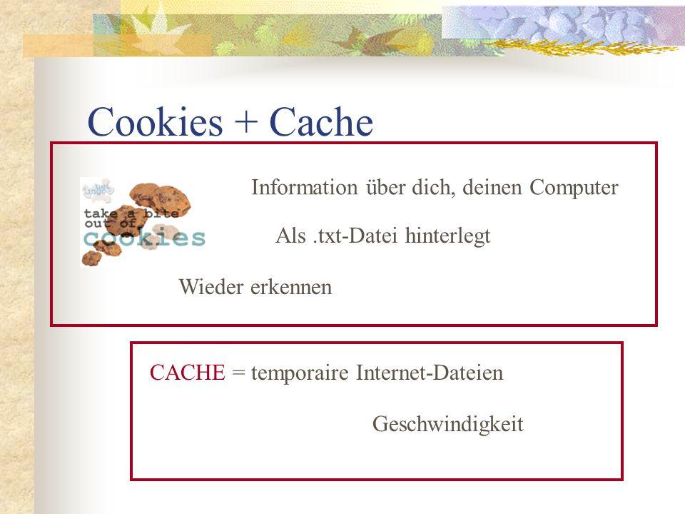 Cookies + Cache Information über dich, deinen Computer