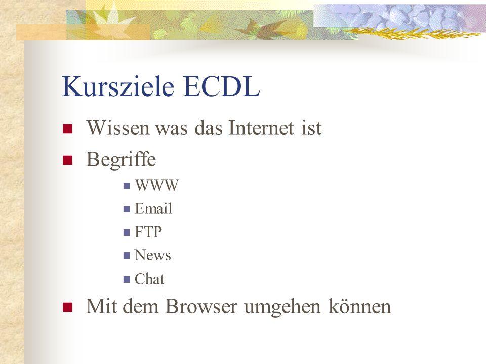 Kursziele ECDL Wissen was das Internet ist Begriffe