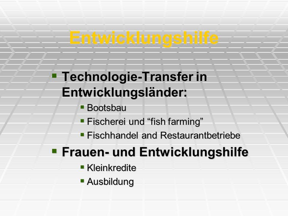 Entwicklungshilfe Technologie-Transfer in Entwicklungsländer: