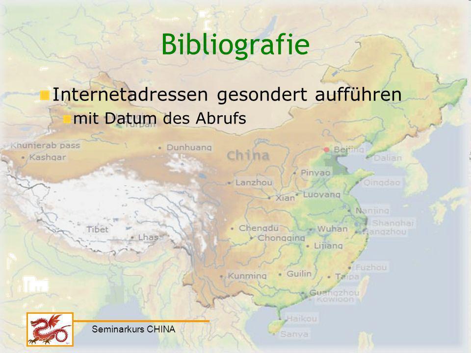 Bibliografie Internetadressen gesondert aufführen mit Datum des Abrufs