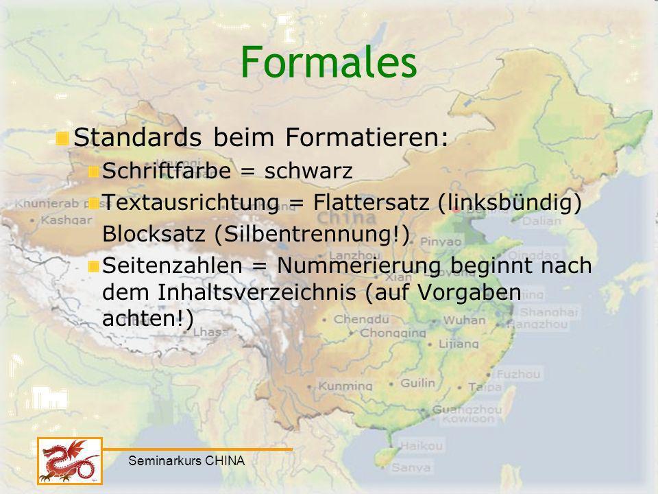 Formales Standards beim Formatieren: Schriftfarbe = schwarz