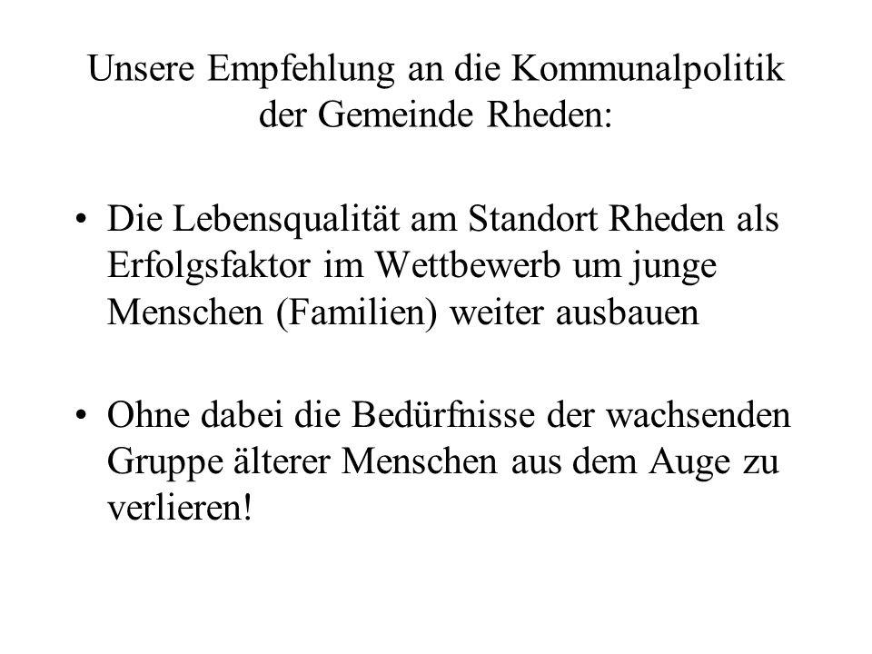 Unsere Empfehlung an die Kommunalpolitik der Gemeinde Rheden: