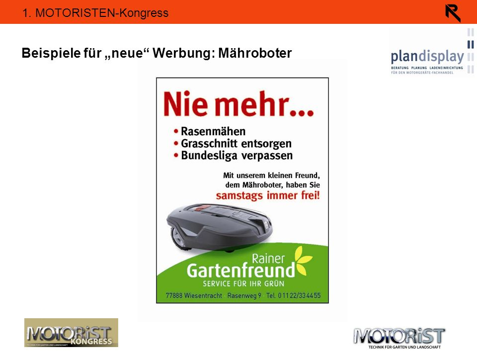 """Beispiele für """"neue Werbung: Mähroboter"""