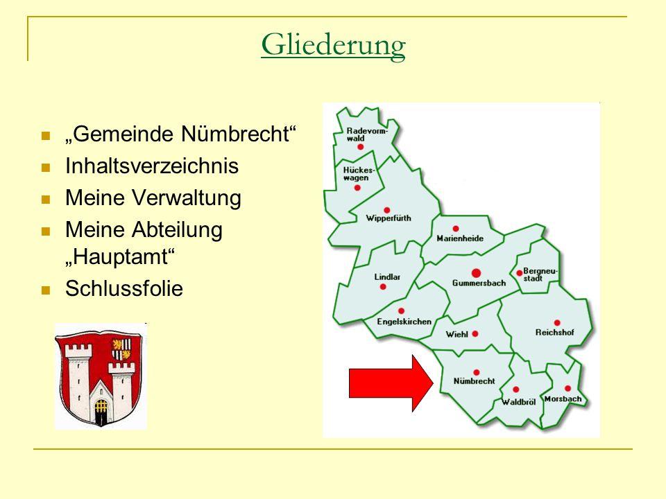 """Gliederung """"Gemeinde Nümbrecht Inhaltsverzeichnis Meine Verwaltung"""