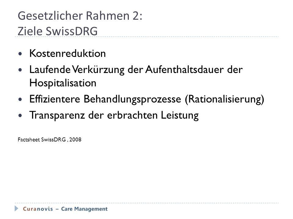 Gesetzlicher Rahmen 2: Ziele SwissDRG