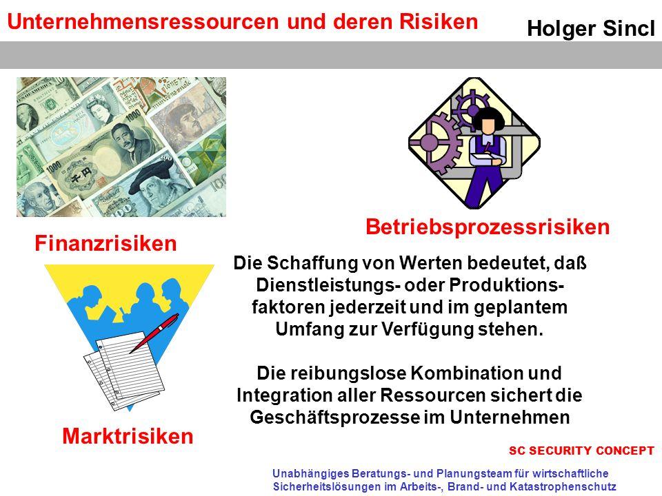 Unternehmensressourcen und deren Risiken Holger Sincl