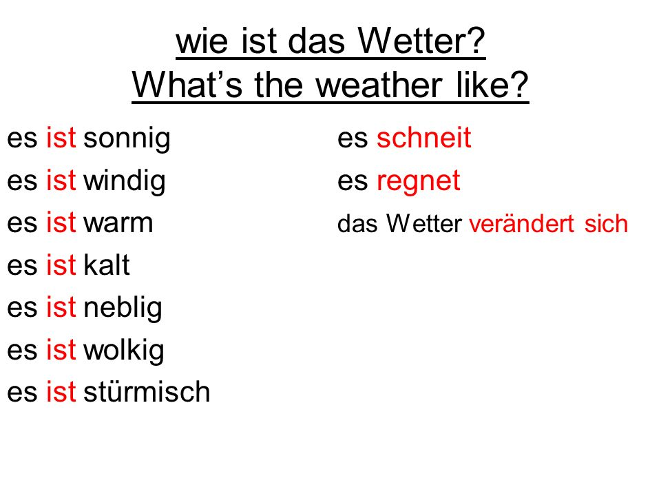 wie ist das Wetter What's the weather like