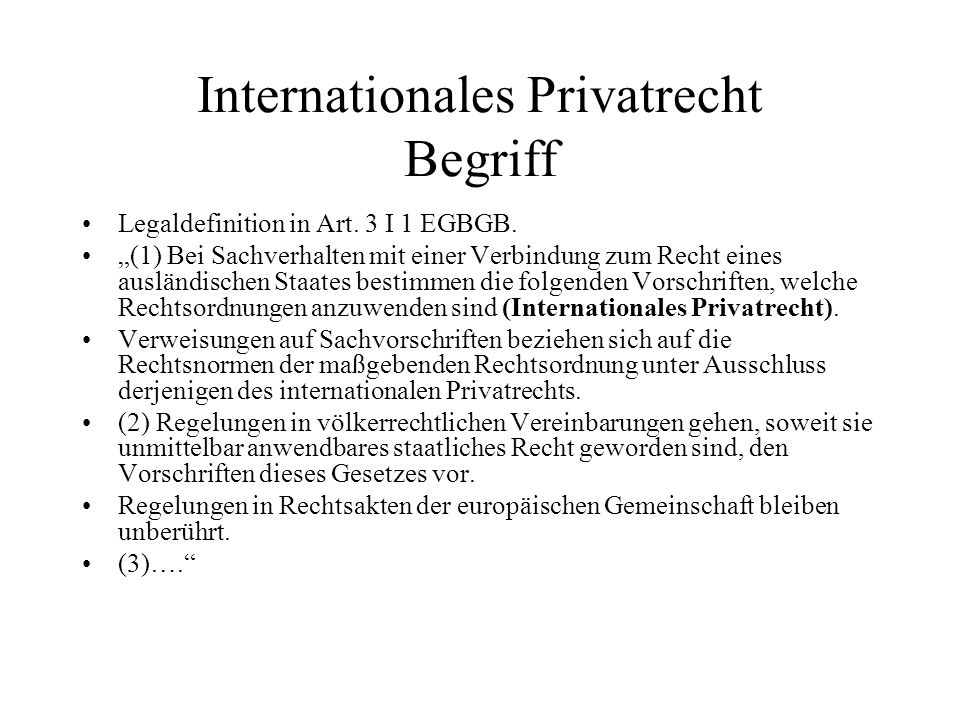 Internationales Privatrecht Begriff