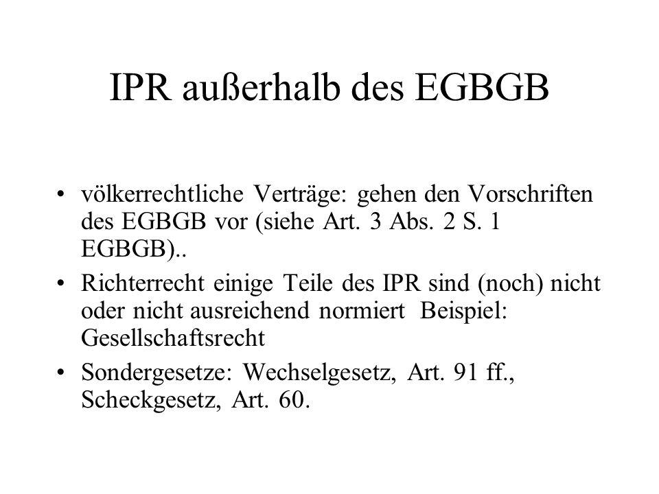 IPR außerhalb des EGBGB
