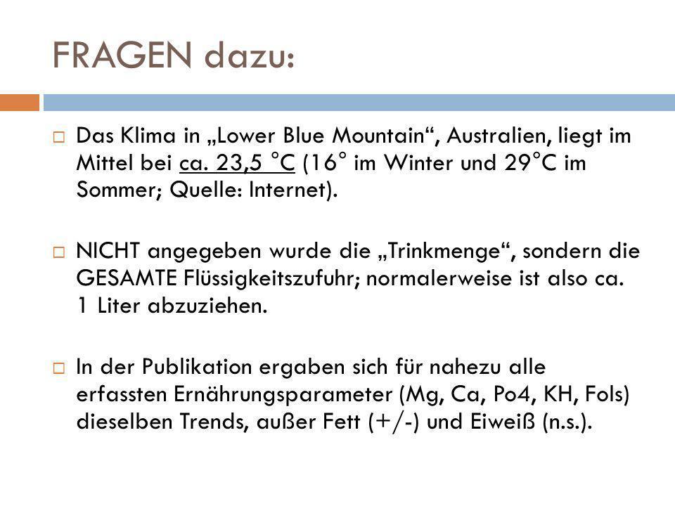 """FRAGEN dazu: Das Klima in """"Lower Blue Mountain , Australien, liegt im Mittel bei ca. 23,5 °C (16° im Winter und 29°C im Sommer; Quelle: Internet)."""