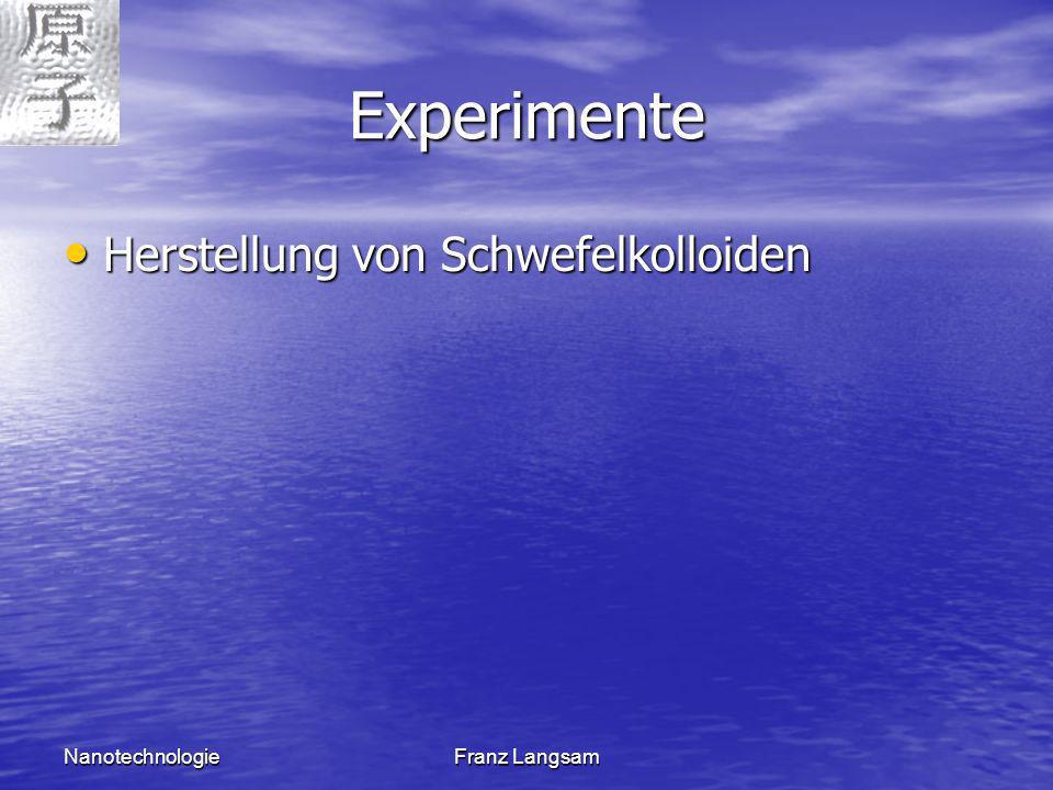 Experimente Herstellung von Schwefelkolloiden Nanotechnologie