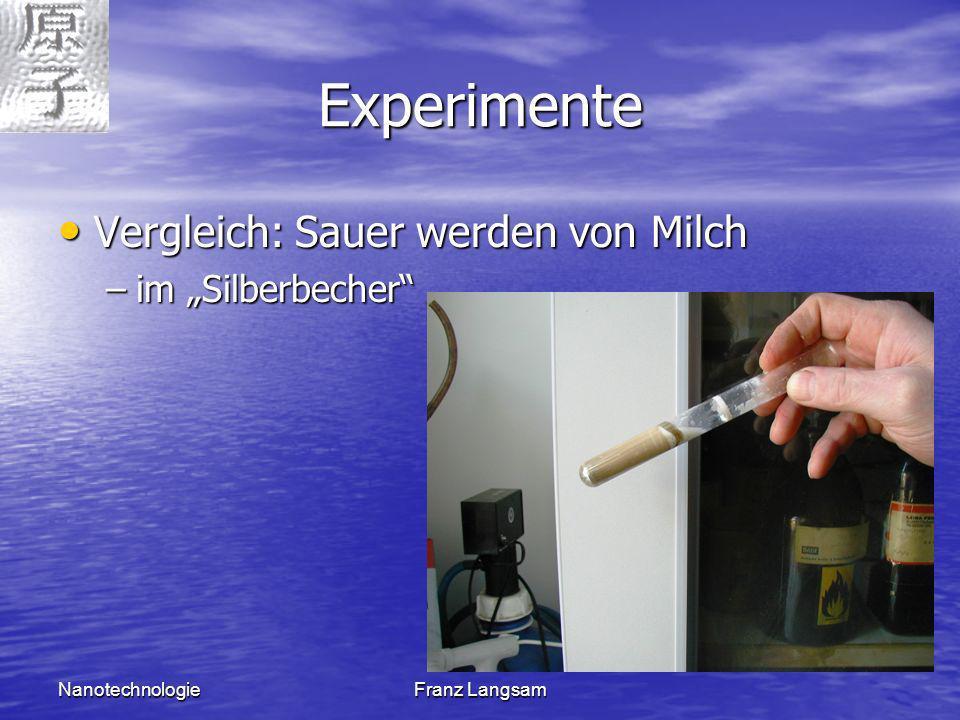 """Experimente Vergleich: Sauer werden von Milch im """"Silberbecher"""