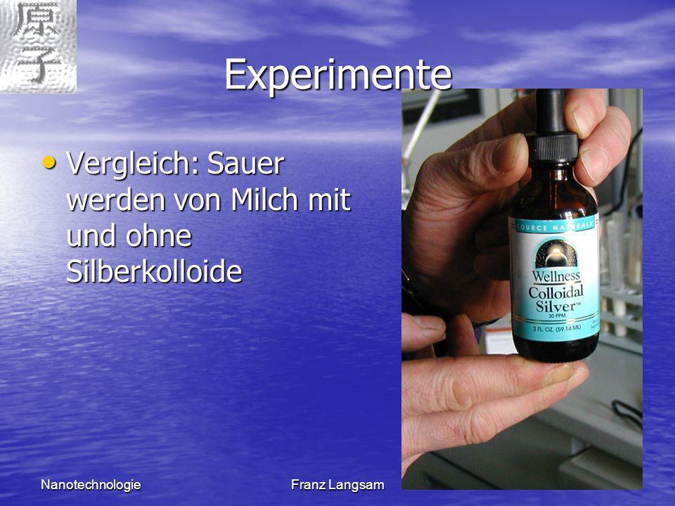 Experimente Vergleich: Sauer werden von Milch mit und ohne Silberkolloide.