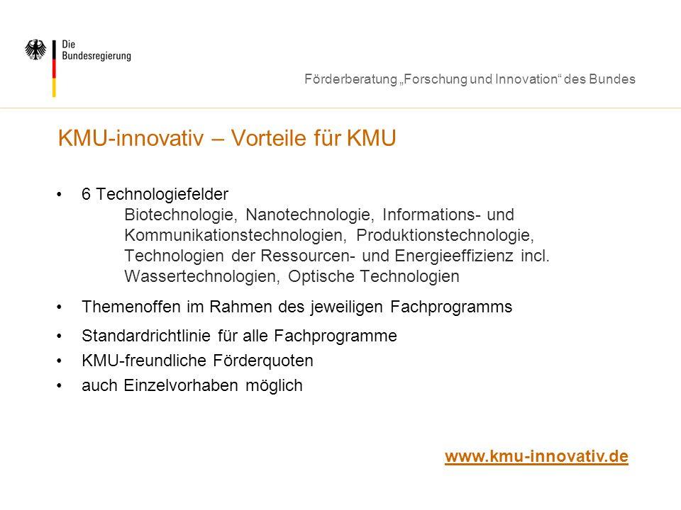 KMU-innovativ – Vorteile für KMU