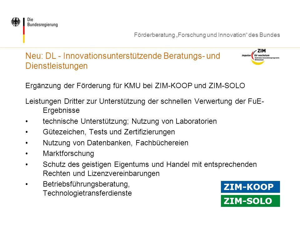 Neu: DL - Innovationsunterstützende Beratungs- und Dienstleistungen