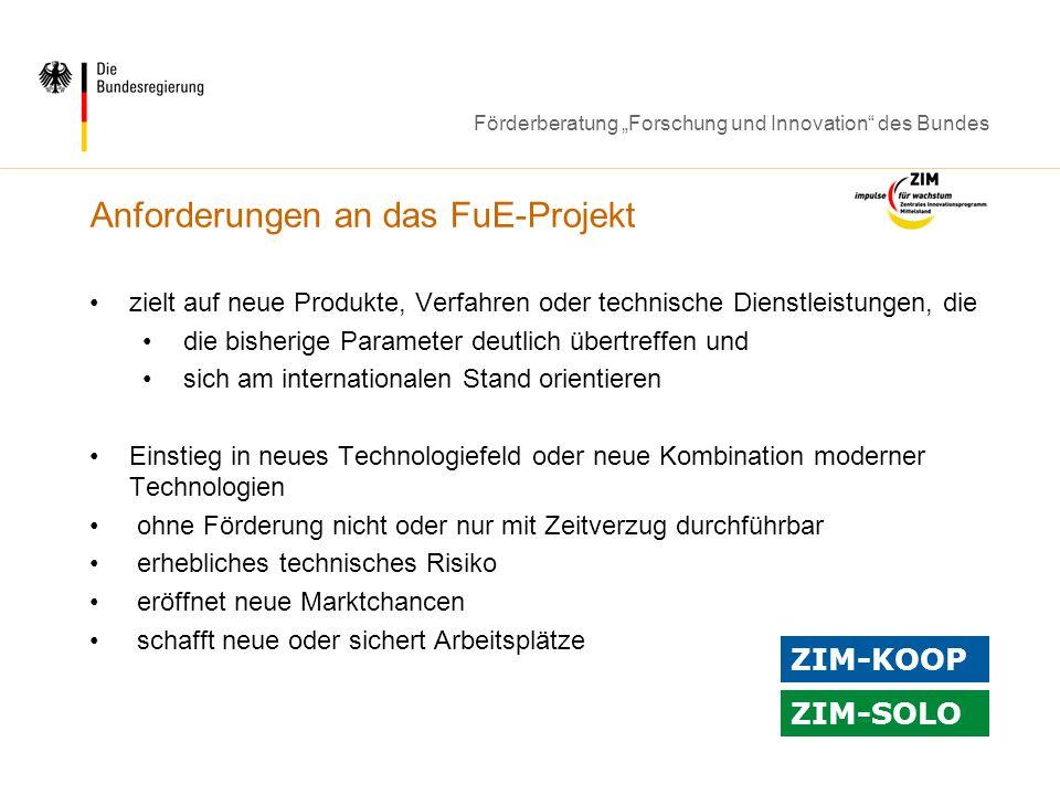 Anforderungen an das FuE-Projekt