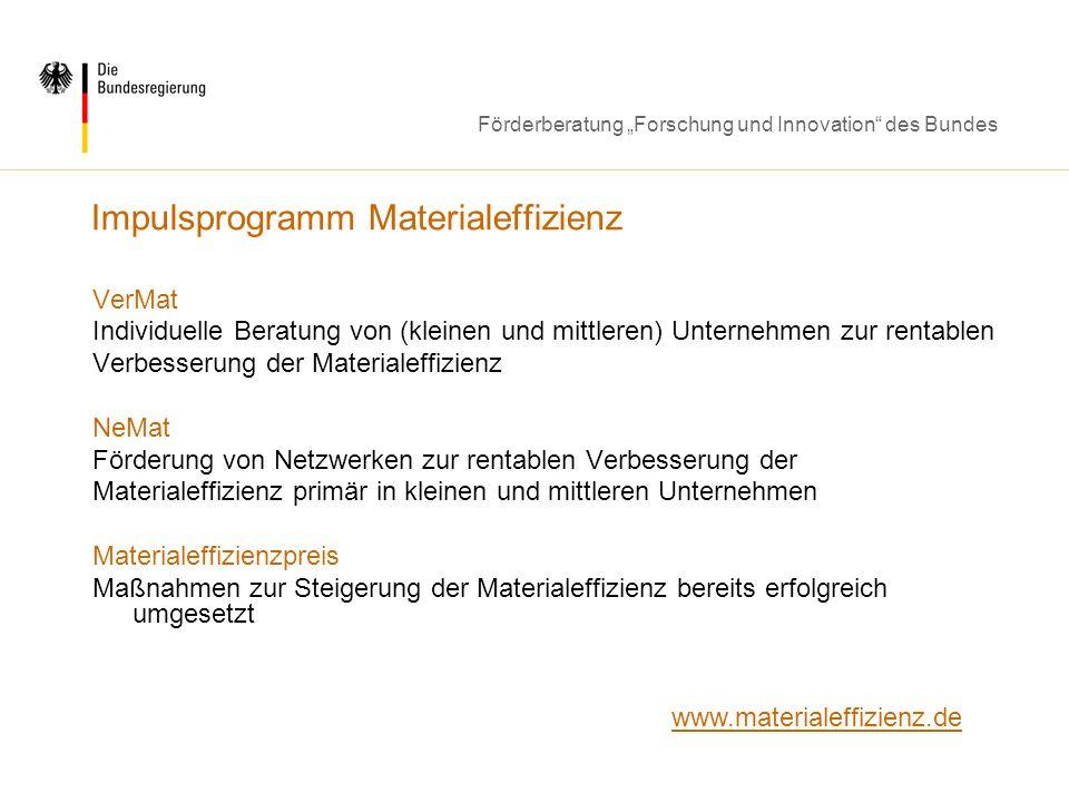 Impulsprogramm Materialeffizienz