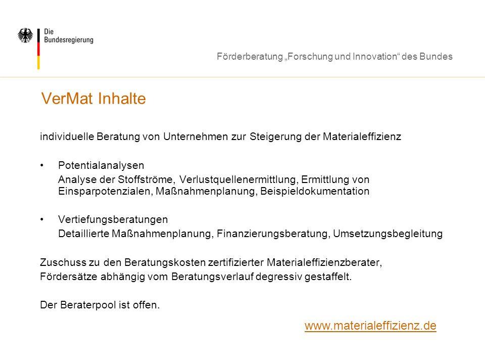 VerMat Inhalte www.materialeffizienz.de