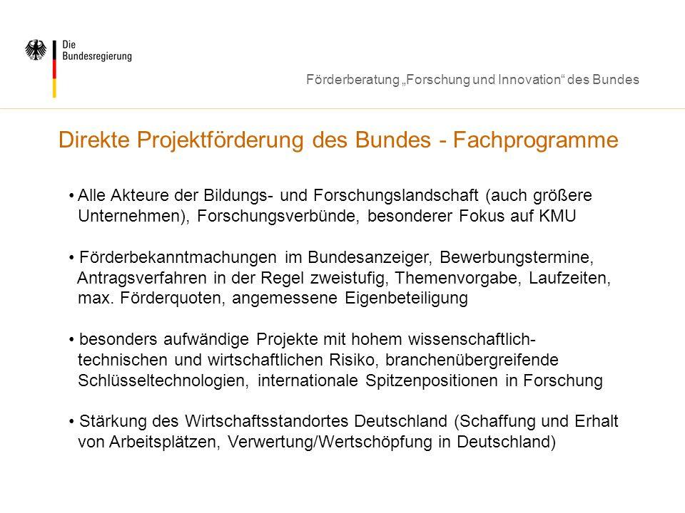 Direkte Projektförderung des Bundes - Fachprogramme