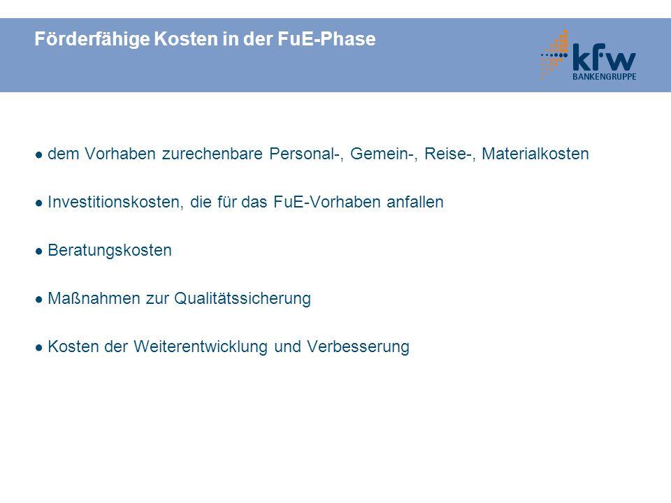 Förderfähige Kosten in der FuE-Phase
