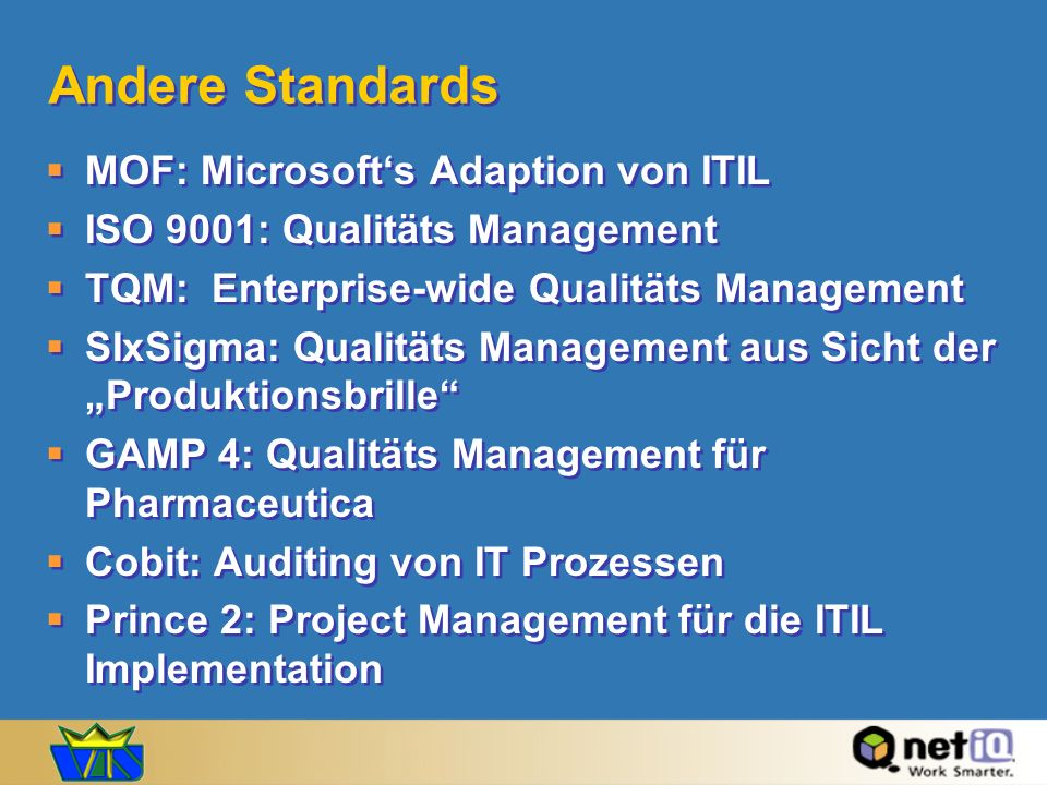 Andere Standards MOF: Microsoft's Adaption von ITIL
