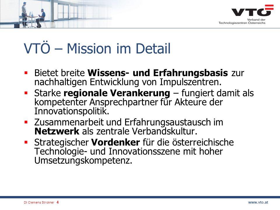 VTÖ – Mission im Detail Bietet breite Wissens- und Erfahrungsbasis zur nachhaltigen Entwicklung von Impulszentren.