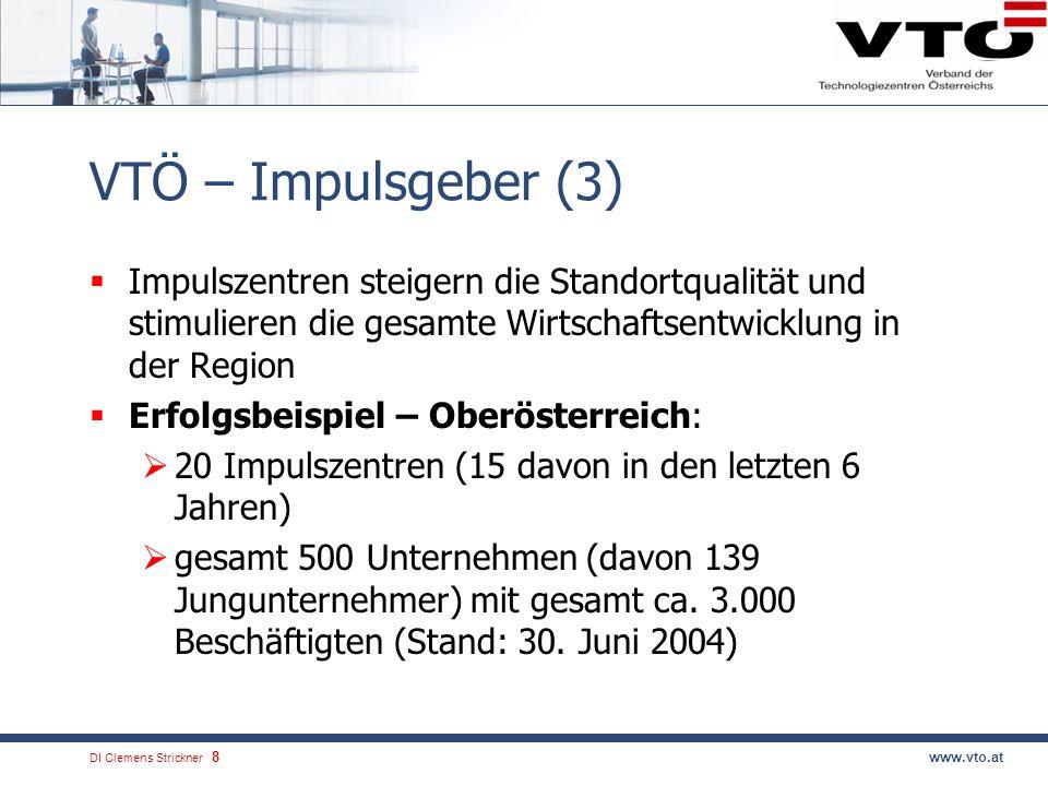 VTÖ – Impulsgeber (3) Impulszentren steigern die Standortqualität und stimulieren die gesamte Wirtschaftsentwicklung in der Region.
