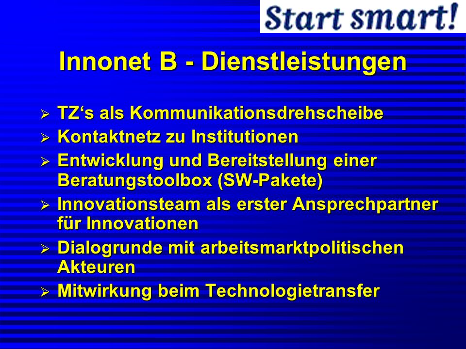 Innonet B - Dienstleistungen