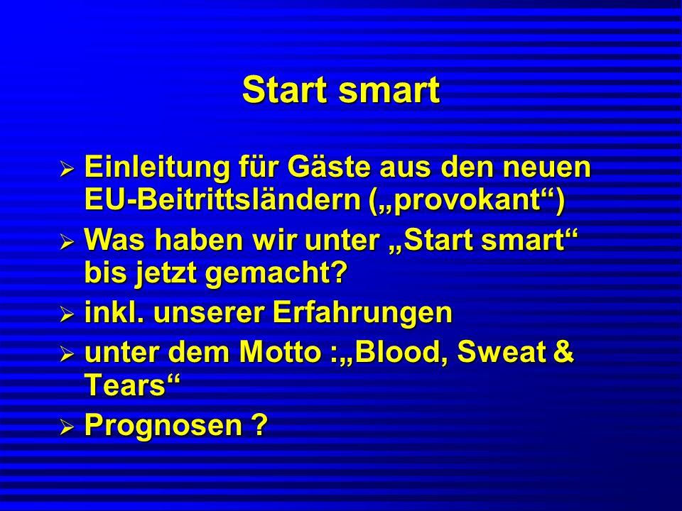 """Start smart Einleitung für Gäste aus den neuen EU-Beitrittsländern (""""provokant ) Was haben wir unter """"Start smart bis jetzt gemacht"""