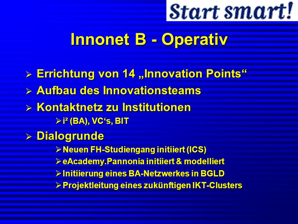 """Innonet B - Operativ Errichtung von 14 """"Innovation Points"""