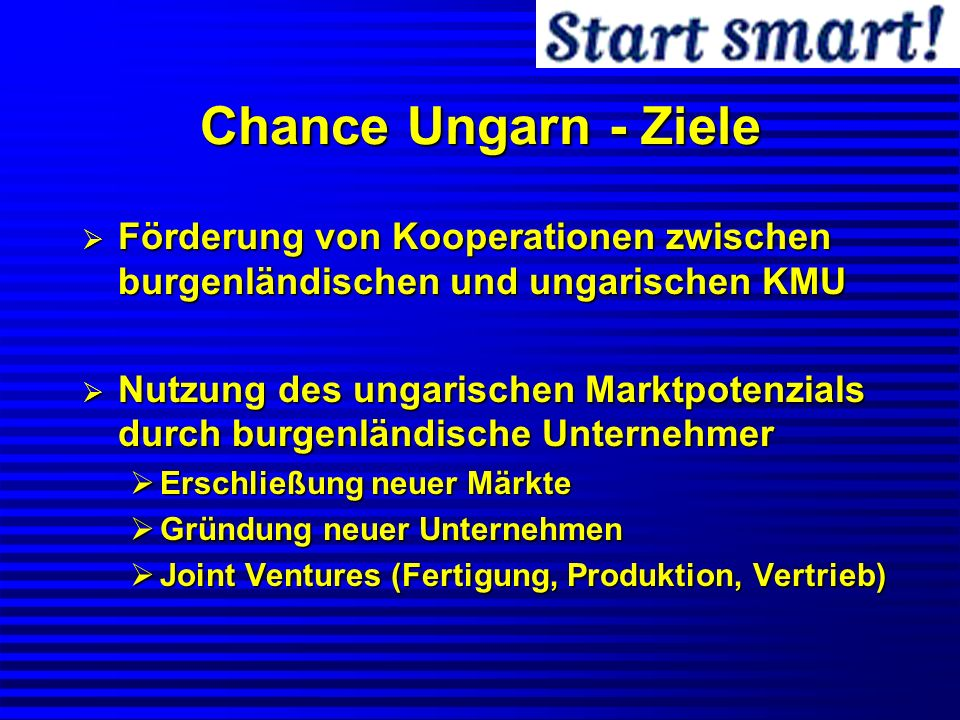 Chance Ungarn - Ziele Förderung von Kooperationen zwischen burgenländischen und ungarischen KMU.