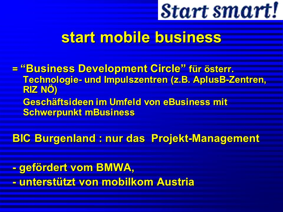 start mobile business BIC Burgenland : nur das Projekt-Management