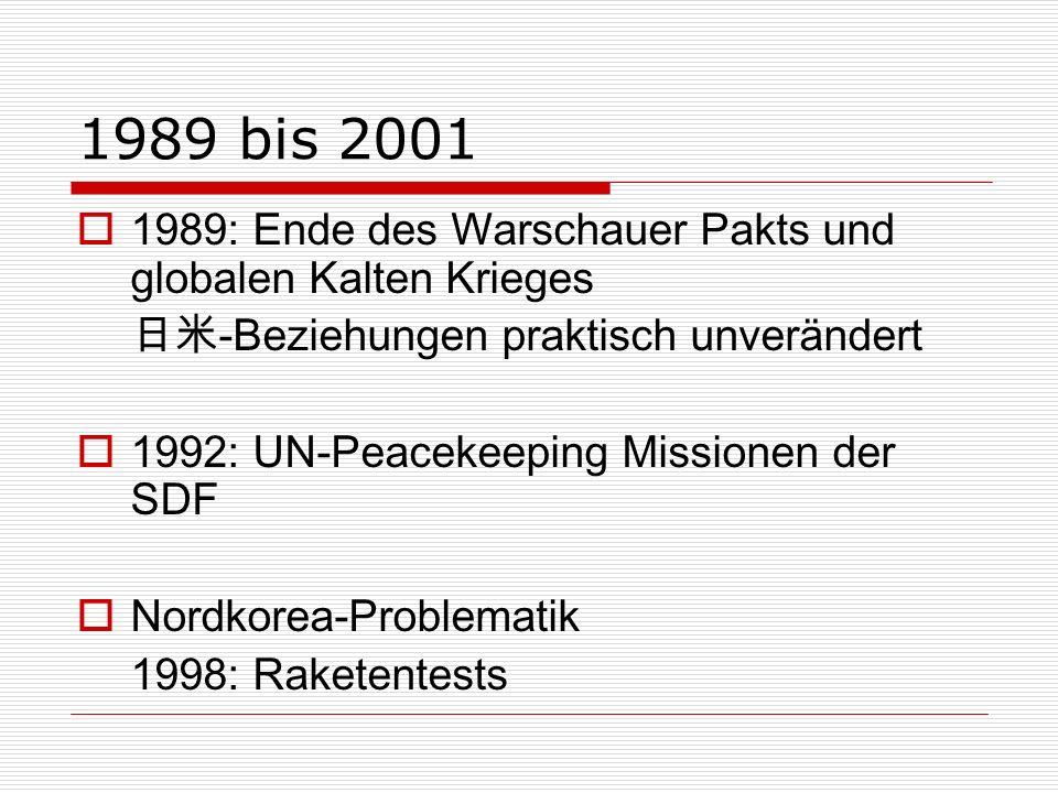 1989 bis 2001 1989: Ende des Warschauer Pakts und globalen Kalten Krieges. 日米-Beziehungen praktisch unverändert.