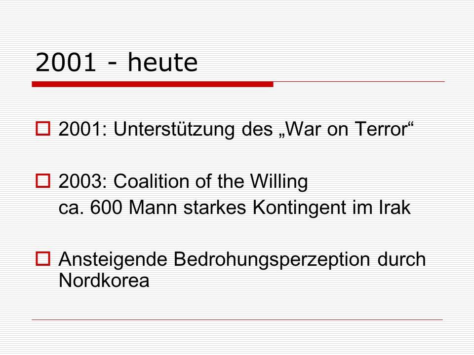 """2001 - heute 2001: Unterstützung des """"War on Terror"""