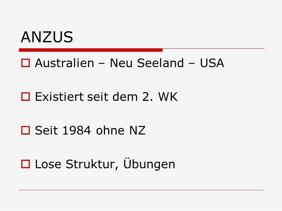 ANZUS Australien – Neu Seeland – USA Existiert seit dem 2. WK