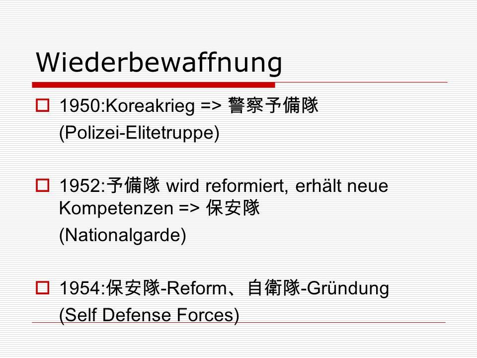 Wiederbewaffnung 1950:Koreakrieg => 警察予備隊 (Polizei-Elitetruppe)