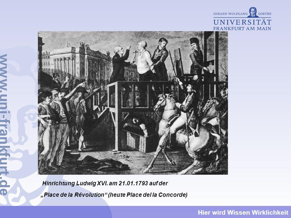 Hinrichtung Ludwig XVI. am 21.01.1793 auf der