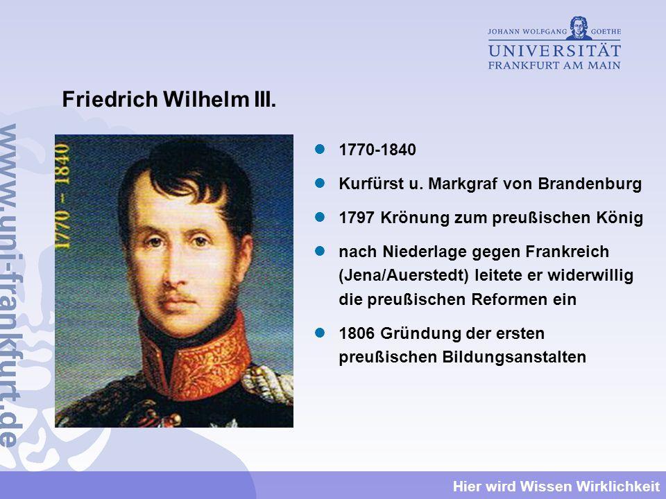 Friedrich Wilhelm III. 1770-1840 Kurfürst u. Markgraf von Brandenburg