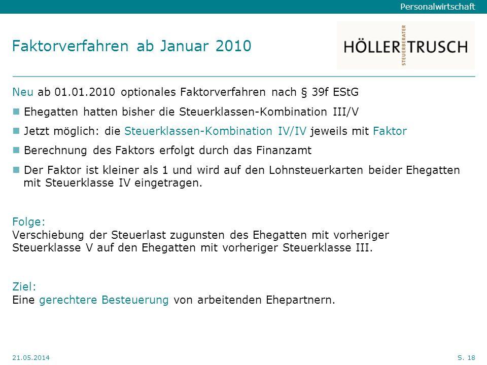 Faktorverfahren ab Januar 2010